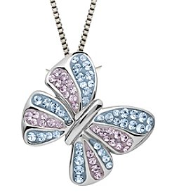 Violet and Aqua Crystal Butterfly Pendant Necklace in Sterling Silver