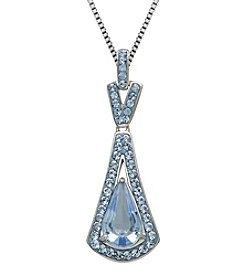 Light Blue Crystal Pendant Necklace in Sterling Silver