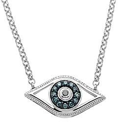 0.08 ct. t.w. Green Diamond Evil Eye Pendant Necklace in Sterling Silver