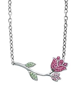 Impressions® Pink and Green Crystal Rose Pendant Necklace in Sterling Silver