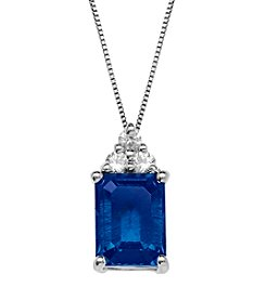 Laboratory-Created Blue Sapphire and Laboratory-Created White Sapphire Pendant Necklace in Sterling Silver