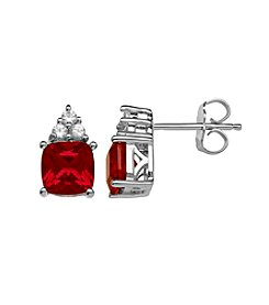 Laboratory-Created Ruby and Laboratory-Created White Sapphire Earrings in Sterling Silver