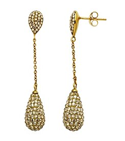 Golden Crystal Teardrop Earrings in Gold-Plated Sterling Silver