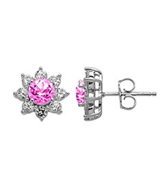Laboratory-Created Pink Sapphire and Laboratory-Created White Sapphire Earrings in Sterling Silver