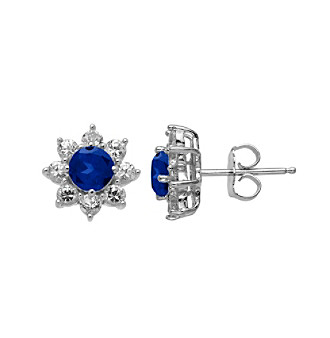 Laboratory-Created Blue Sapphire and Laboratory-Created White Sapphire Earrings in Sterling Silver