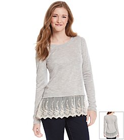Eyeshadow® Hacci Pullover Top With Crochet