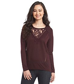 Jolt® Solid Lace Accented Tunic