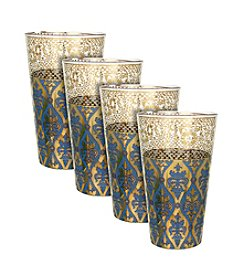 Zrike Brands Sapphire Envy Set of 4 Tall Glasses
