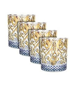 Zrike Brands Golden Ikat Set of 4 Cocktail Glasses