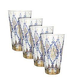 Zrike Brands Bejeweled Set of 4 Tall Glasses