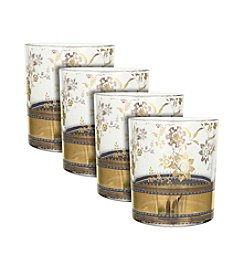 Zrike Brands Metallic Lace Set of 4 Cocktail Glasses