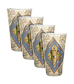 Zrike Brands Diamond Shimmer Set of 4 Tall Glasses