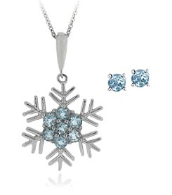 Designs by FMC Sterling Silver Plated Genuine Blue Topaz Snowflake Pendant Necklace and Earring Boxed Set