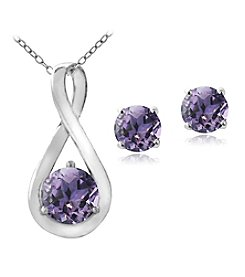 Designs by FMC Sterling Silver Plated Genuine Amethyst Pendant Necklace and Earrings Boxed Set