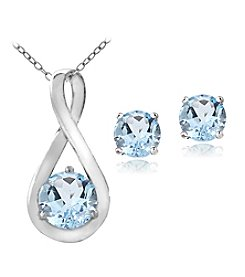 Designs by FMC Sterling Silver Plated Genuine Blue Topaz Pendant Necklace and Earrings Boxed Set