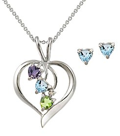 Designs by FMC Sterling Silver Plate Multi Genuine Stone Heart Pendant Necklace and Earrings Boxed Set