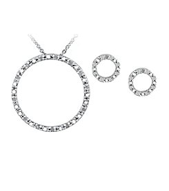 Designs by FMC Sterling Silver Plated Genuine Diamond Accent Circle Pendant Necklace and Earrings Boxed Set