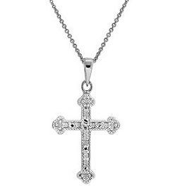 Designs by FMC Boxed Sterling Silver Plated Diamond Accent Cross Pendant Necklace