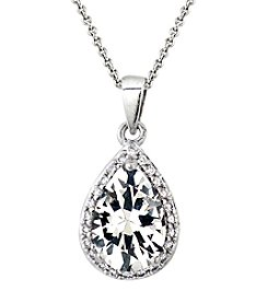 Designs by FMC Boxed Sterling Silver Plated Created White Sapphire and Cubic Zirconia Pendant Necklace