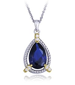 Designs by FMC Boxed Sterling Silver Two Tone Plated Lab Created Sapphire Spinel Pendant Necklace