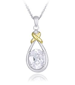 Designs by FMC Sterling Silver Boxed Two Tone Plated Created White Sapphire Pendant Necklace