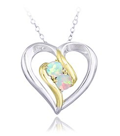 Designs by FMC Boxed Sterling Silver Two Tone Plated Created White Opal Heart Pendant Necklace