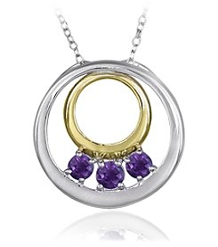 Designs by FMC Boxed Sterling Silver Two Tone Plated Genuine Stone Amethyst Pendant Necklace