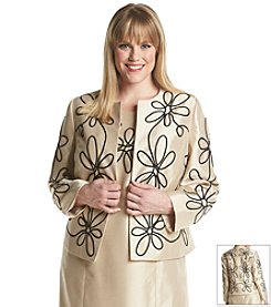 Kasper® Plus Size Embroidered Flyaway Jacket