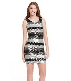 Sequin Hearts® Chevron Sequin Dress