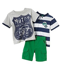 Nannette® Boys' 2T-4T 3-Piece Motor Garage Shirt Set