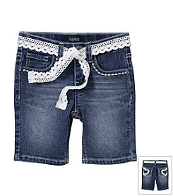 Squeeze® Girls' 2T-6X Stone Wash Crochet Belted Bermuda Shorts