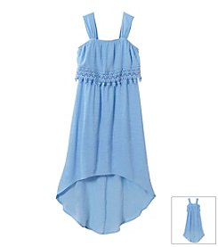 Sequin Hearts Girls' 7-16 Hi Low Maxi With Crochet Bodice Dress