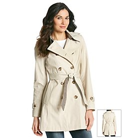 DKNY® Double-Breasted Trench Coat with Contrast Belt