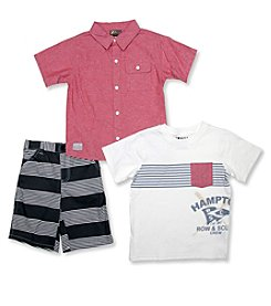 Nannette® Boys' 2T-7 3-Piece Hampton Shorts Set