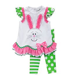Rare Editions® Baby Girls' 2-Piece Striped Bunny Outfit Set