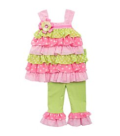 Rare Editions® Baby Girls' Tiered Top And Leggings Set