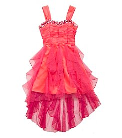 Rare Editions® Girls' 7-16 Glitter Mesh Cascade Dress
