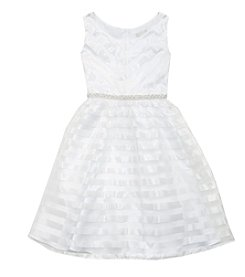 Rare Editions® Girls' 7-16 Striped Organza Satin Dress