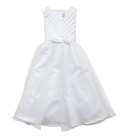 Rare Editions® Girls' 7-16 Matte Satin Pin Tuck Dress