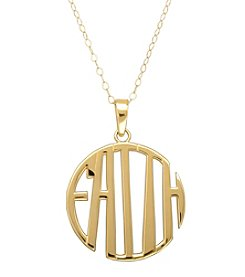 14K Yellow Gold Polished Scroll Monogram Faith 17