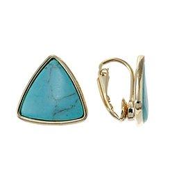 Lauren Ralph Lauren Goldtone Triangle Turquoise Clip Earrings