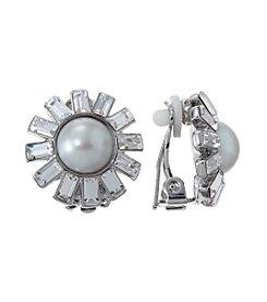 Lauren Ralph Lauren Silvertone Pearl and Crystal Clip Earrings