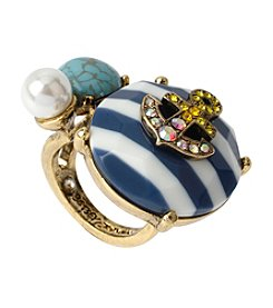 Betsey Johnson® Goldtone Anchor Striped Bead Cocktail Ring