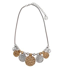 Erica Lyons® Metal Two-Tone Graduated Disks Frontal Necklace