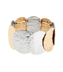 Erica Lyons® Metal Two-Tone Disks Stretch Bracelet