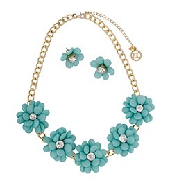 Erica Lyons® Goldtone Turquoise Flowers Necklace and Stud Earrings Set
