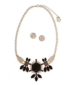 Erica Lyons® Goldtone Jet Clusters Frontal Necklace and Stud Earrings Set