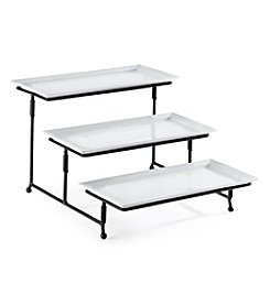 LivingQuarters Whiteware 3-Tiered Serving Tray