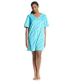 Jasmine Rose® Plus Size Aqua Dot Zip Robe