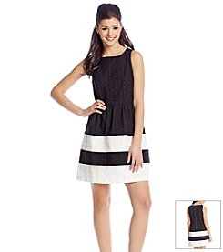 Kensie® Striped Daisy Eyelet Dress
